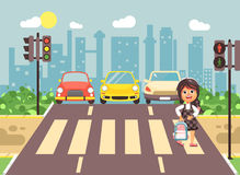 Vector illustration cartoon character child, observance traffic rules, lonely brunette girl schoolchild schoolgirl go to. Stock vector illustration cartoon Royalty Free Stock Photography
