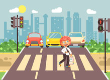 Vector illustration cartoon character child, observance traffic rules, lonely redhead boy schoolchild schoolboy go to. Stock vector illustration cartoon Stock Photography