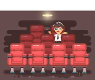 Vector illustration cartoon character child pupil schoolboy lonely brunette boy sits in armchair, cinema hall, eat. Stock vector illustration cartoon character Royalty Free Stock Photography