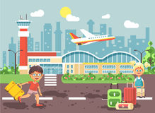 Vector illustration cartoon character late boy run to little blonde girl standing at airport, departing plane, bag Stock Photos