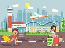 Vector illustration cartoon character late boy run to little brunette girl standing at airport, departing plane, bag Royalty Free Stock Image