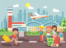 Vector illustration cartoon character late boy run to little children girl standing at airport, departing plane, bag Stock Images