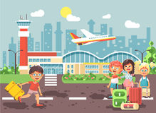 Vector illustration cartoon character late boy run to little children girl standing at airport, departing plane, bag Royalty Free Stock Photo