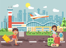 Vector illustration cartoon character late boy run to little children girl standing at airport, departing plane, bag Royalty Free Stock Image
