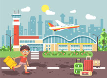 Vector illustration cartoon character late delay boy runs to bags and suitcases standing at airport, departing plane Royalty Free Stock Image
