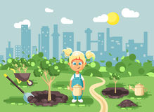 Vector illustration cartoon characters of child little blonde girl in denim overall with two tails planting in garden. Stock vector illustration cartoon vector illustration