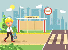 Vector illustration cartoon characters child, observance traffic rules, lonely blonde boy schoolchild, pupil go to road. Stock vector illustration cartoon Royalty Free Stock Photo