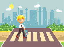 Vector illustration cartoon characters child, observance traffic rules, lonely blonde boy schoolchild, pupil go to road. Stock vector illustration cartoon Royalty Free Stock Images