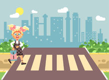 Vector illustration cartoon characters child, observance traffic rules, lonely blonde girl schoolchild, pupil go to road. Stock vector illustration cartoon Stock Image