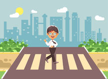 Vector illustration cartoon characters child, observance traffic rules, lonely brunette boy schoolchild, pupil go to. Stock vector illustration cartoon Royalty Free Stock Photo