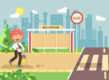 Vector illustration cartoon characters child, observance traffic rules, lonely redhead boy schoolchild, pupil go to road. Stock vector illustration cartoon Royalty Free Stock Images