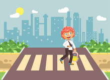 Vector illustration cartoon characters child, observance traffic rules, lonely redhead boy schoolchild, pupil go to road. Stock vector illustration cartoon Royalty Free Stock Photos