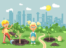 Vector illustration cartoon characters of children boy and girl dig hole in ground for planting in garden seedlings of Stock Photography