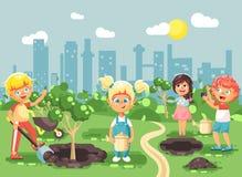 Vector illustration cartoon characters of children boy and girl planting in garden seedlings of tree, little child with. Stock vector illustration cartoon stock illustration