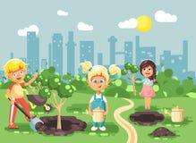 Vector illustration cartoon characters of children boy and girl planting in garden seedlings of tree, little child with. Stock vector illustration cartoon vector illustration