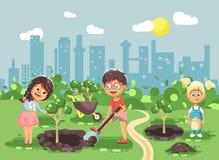 Vector illustration cartoon characters of children boy and girl planting in garden seedlings of tree, little child with. Stock vector illustration cartoon royalty free illustration