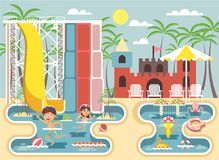 Vector illustration cartoon characters children, boy and girl swimming pool near water slide, frolicking or resting in. Stock vector illustration cartoon Stock Photos