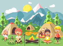 Vector illustration cartoon characters children boy sings playing guitar with girl scouts, camping on nature, hike tents Stock Images