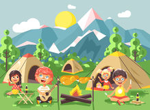 Vector illustration cartoon characters children boy sings playing guitar with girl scouts, camping on nature, hike tents. Stock vector illustration cartoon Stock Photos