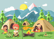 Vector illustration cartoon characters children boy sings playing guitar with girl scouts, camping on nature, hike tents. Stock vector illustration cartoon Stock Images