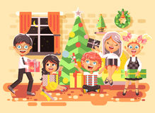 Vector illustration cartoon characters children, boys and girls in room under Christmas tree, happy New Year and Royalty Free Stock Image