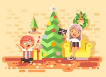 Vector illustration cartoon characters children, boys and girls in room under Christmas tree, happy New Year and Stock Photos
