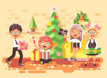Vector illustration cartoon characters children, boys and girls in room under Christmas tree, happy New Year and Stock Photo