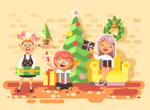 Vector illustration cartoon characters children, boys and girls in room under Christmas tree, happy New Year and Royalty Free Stock Photos