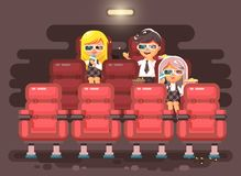 Vector illustration cartoon characters children, classmates, pupils, schoolboy, schoolgirls, boy and two girls sit in Stock Images