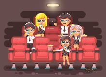 Vector illustration cartoon characters children, classmates, pupils, schoolboys, schoolgirls, boys, girls sitting in Stock Image