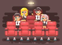 Vector illustration cartoon characters children, classmates, pupils, schoolboys, schoolgirls, boys, girls sitting in Royalty Free Stock Images