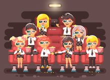 Vector illustration cartoon characters children, classmates, pupils, schoolboys, schoolgirls, boys, girls sitting in Royalty Free Stock Photos