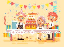 Vector illustration cartoon characters children, friends, boy and two girls celebrate happy birthday, congratulating. Stock vector illustration cartoon Royalty Free Stock Photography