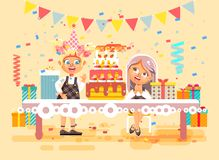 Vector illustration cartoon characters children, friends, two girls celebrate happy birthday, congratulating, giving. Stock vector illustration cartoon Royalty Free Stock Image