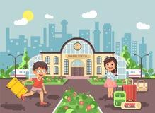 Vector illustration of cartoon characters children, late boy running on perron, little girl standing at railway station. Stock vector illustration of cartoon Stock Photo