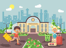Vector illustration of cartoon characters children, late boy running on perron, little girl standing at railway station. Stock vector illustration of cartoon Royalty Free Stock Photography