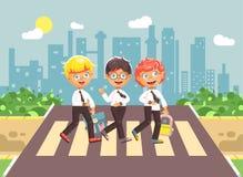 Vector illustration cartoon characters children, observance traffic rules, boy schoolboys, classmates pupils go to road Stock Photo