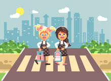 Vector illustration cartoon characters children, observance traffic rules, girls schoolgirls, classmates pupils go to Stock Image
