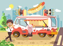 Vector illustration cartoon characters children, pupils, schoolboys and schoolgirl buy fast food, sandwiches, hot dogs Royalty Free Stock Photos