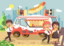 Vector illustration cartoon characters children, pupils, schoolboys and schoolgirl buy fast food, sandwiches, hot dogs Royalty Free Stock Photo