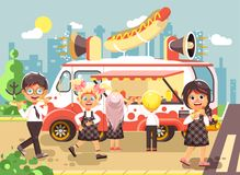 Vector illustration cartoon characters children, pupils, schoolboys and schoolgirls buy fast food, sandwiches, hot dogs Stock Photography