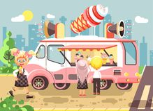 Vector illustration cartoon characters children, pupils, schoolboys and schoolgirls buy ice cream, vanilla, chocolate Stock Images