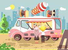 Vector illustration cartoon characters children, pupils, schoolboys and schoolgirls buy ice cream, vanilla, chocolate Stock Photography