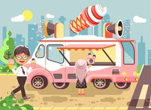 Vector illustration cartoon characters children, pupils, schoolboys and schoolgirls buy ice cream, vanilla, chocolate Royalty Free Stock Images