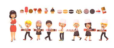 Vector illustration cartoon  characters children, pupils, schoolboys and schoolgirls little boys girls sale Stock Photo