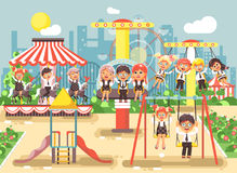 Vector illustration of cartoon characters children schoolboys schoolgirls classmates resting in amusement park ride on Royalty Free Stock Images
