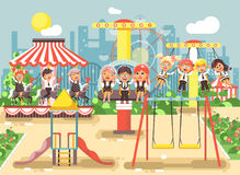 Vector illustration of cartoon characters children schoolboys schoolgirls classmates resting in amusement park ride on Stock Photography