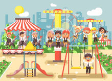 Vector illustration of cartoon characters children schoolboys schoolgirls classmates resting in amusement park ride on Royalty Free Stock Photo