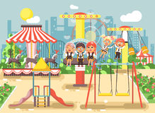 Vector illustration of cartoon characters children schoolboys schoolgirls classmates resting in amusement park ride on Royalty Free Stock Photography
