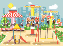 Vector illustration of cartoon characters children schoolboys schoolgirls classmates resting in amusement park ride on Stock Images